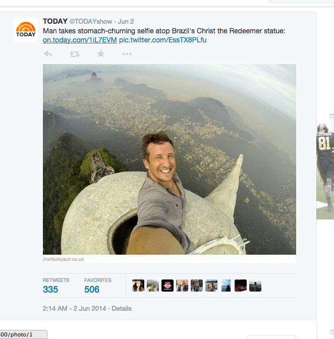 First Ever Selfie With Jesus The Shorty Awards - Guy takes epic selfie top christ redeemer statue brazil